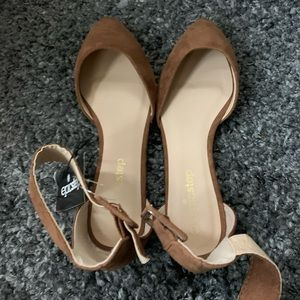 Forever21 Tan Suede Shoes 6 with Buckle